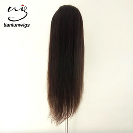Wholesale Indian Remy Light Yaki - fast delivery 24 inch natural color lace front wig with combs and straps sewn in wigs indian remy virgin hair full lace wigs