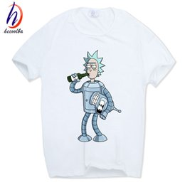 Wholesale Men Swag T Shirt - Men's Rick and Morty Funny Anime T-shirt Casual Short sleeve O-Neck homme Summer White T shirt Swag Tshirt HCP134