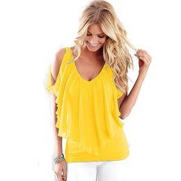 4578b9a3c9 2017 Plus Size Mulheres Chiffon Blusas Sexy Verão Blusa Com Decote Em V  Para Mulheres Roupas Chiffon Camisa Tops Marca Europeia   Americana