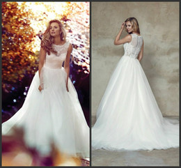Wholesale Fitted Caps For Cheap - Elegant Scoop Lace Sleeveless Wedding Dresses Tulle Train A-Line Cheap Fitted 2018 Plus Size vestido de noiva Bridal Gown Ball For Bride