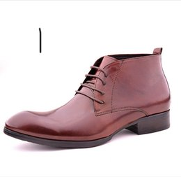 Wholesale Men Pointed Short Boots - HOT!! 2016 high quality Men help high boots pointed business boots Men's leather cowhide boots of England fashion short