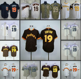 Wholesale Tony Short - San Diego Padres #19 Tony Gwynn Home Away Blue White Grey Cream Brown Camo Throwback Pullover Retro Cool Base Stitched baseball Jersey cheap