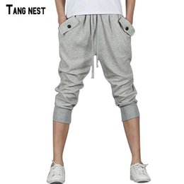 Wholesale Plus Size Harem Shorts - Wholesale- TANGNEST Men Shorts 2017 New Arrival Male Casual Loose Knee Shorts Men's Solid Summer Breathable Fashion Harem Shorts MKD259