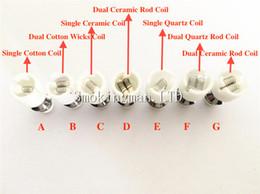 Globo de cristal atomizador de cerámica online-Doble atomizador de Cuarzo doble bobina de cera de cerámica Donut núcleo de atomizador reconstruible para la cera Globo de vidrio vaporizador pluma de vapor herbal reemplazo e cigs