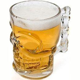 Wholesale Crystal Skull Head Whiskey Glass - Drinkware 500ml Capacity Crystal Skull Head Shot Bone Vodka Whiskey Beer Glass Drink Bottle Cup Home Bar Party Barware 500ml