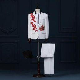Wholesale White Coat Suit For Boys - White fashion latest coat pant designs mariage groom wedding suits for men blazer boys prom sequins suits singer dance stage