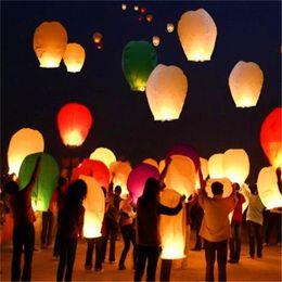 Wholesale Wedding Decor Chinese Lanterns - 200pcs Multicolor Chinese Wishing Lantern Flying Hot Air Balloon Fire Sky Lanterns Decor For Birthday Wish Wedding Party