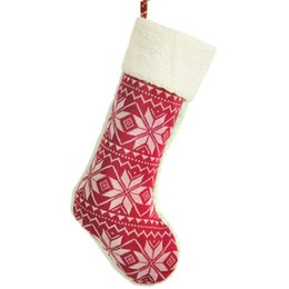 Wholesale Fine Knitting - 2 pieces   lot Fine Knitted Snowflake Burgundy Christmas Stocking Christmas Tree Decoration Ph 2376-Red