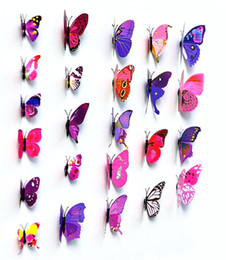 Wholesale Three Dimensional Wall Butterflies - Butterfly Wall Stickers Multi Color Simulation 3D Mural Painting Three Dimensional PVC Removable Murals For Home Bedroom Deco 3ks A