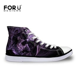Wholesale Cool Canvas Prints - Wholesale-FORUDESIGNS Casual Men Shoes Cool Punk Skull Printed Lace-Up High Top Canvas Shoes For Man Male Comfort Leisure Flats Breathable