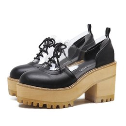 Wholesale Lolita High Heels - 2017 Lolita black transparent patchwork round toe thick high platform lace up chunky heel shoes