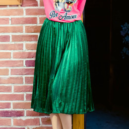 Wholesale Cheap High Waist Skirts - Cheap Price HIGH QUALITY Women's Elegant Fashion Pleated Green Skirt High Waist All Match Plus Size XXXL Midi Skirts Saia Female