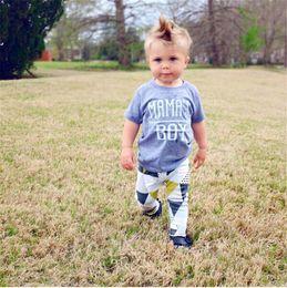 Wholesale Soft Cotton Baby Boy Pants - 2017 News Children Summer Clothes Sets Infant Baby Boys MAMA's BOY Letter Print T Shirt+Long Pants 2 Piece Sets Kids Soft Cotton Clothes Set