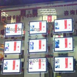 Wholesale Wholesale Poster Led Lights - Real Estate Agency Window A3 Vertical Cable Hanging LED Illuminated Acrylic Poster Frame Display System,Double Sided A3 Lightbox