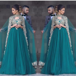 Wholesale Teal Prom Dressed - 2017 Sexy Teal Green Tulle Prom Dresses With Cape V Neck Lace Appliques Beaded Muslim Beaded Long Party Dress Plus Size Evening Gowns
