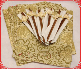 Wholesale Vintage Dining Tables - Wholesale- Luxury Party Dining Table 6 Placemats Chopstick Napkins Set Chinese Damask Pattern Vintage Rectangle Table Mats Protective Pad