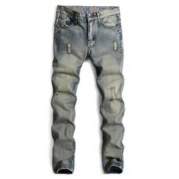 Wholesale Moustache S - Wholesale-2016 NEW Arrival Biker Moustache Effect jeans men's Trousers Slim Straight EU size Designer fitness casual Ripped Jeans,MA078