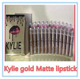 Wholesale Wholesale Glod - Kylie glod lipstick makeup gold bright charm matte lip gloss pen 12 color VS Kylie jenner Lip Kit Kylie Bronze