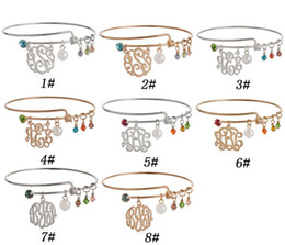 Wholesale Cheap Silver Rings Women - Monogram alex and ani bracelets for women Gold or silver crystal pendant expandable bangles jewelry cheap