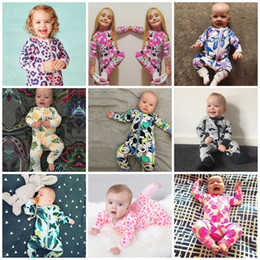 Wholesale Colorful Rompers - Newest INS Baby Printed Zipper Jumpsuits Fruit Letter Stripe Colorful Toddler Boys Girls Rompers Kids Clothing