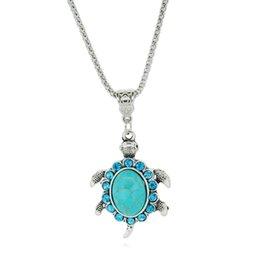 Wholesale Green Turtle Pendants - Women Boho Turquoise Rhinestone Turtle Tortoise Necklace Fashion Jewelry Women Charm Shaped Pendants Retro Necklaces Charms Mujer