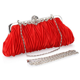 Wholesale Red Beaded Handbag - 2017 Cheap Fashion Bridal High Quality Silver Red Crystals Beads Clutch Handbags Shoulder Bag Purse Bags CPA806