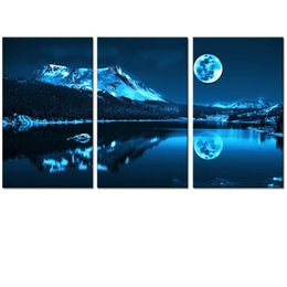 Wholesale Canvas Full Moon - Full Moon Picture Canvas Prints Nature Landscape Canvas Photo Printing Bedroom and Living Room Decoration