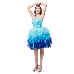 elie saab vestido de cocktail branco Desconto Vestidos de coquetel azul verde branco Sexy querida frisada Organza coquetel vestidos Mini vestidos curtos de baile