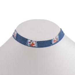 Wholesale Unique Tattoos - 10Pcs National Design Jeans Fabric Boho Flower Printing Choker Statement Necklace For Women Unique Ribbon Tattoo Chokers