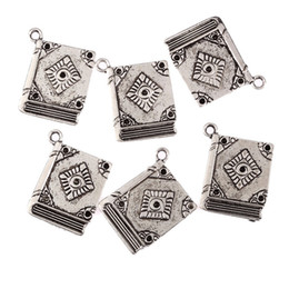 Wholesale Antiques Books - Wholesale-5Pcs Book Spell Witchcraft Antique Tibetan Silver Bead Charms DIY Fashion Pendants Fit Bracelet Jewelry Findings 23*18mm