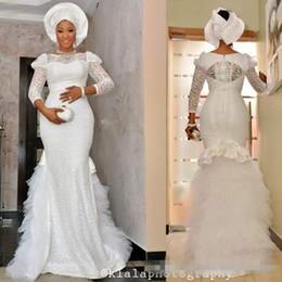 nigerian casamento vestido costume Desconto Vestidos De Noiva Branco nigeriano 2017 Vestidos de Casamento Com Apliques de Pescoço Sheer Plus Size Vestidos De Casamento Com Apliques de Renda Feito Sob Encomenda