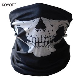 Wholesale Cap Mask Function - Wholesale- Halloween Skull Skeleton Motorcycle Bicycle Multi function Headwear Hat Scarf Half Face Mask Cap Neck Warmer Ghost Scarf