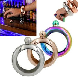 Wholesale Mini Stainless Steel - Bangle Bracelet Hip Flask 3.5oz 304 Stainless Steel Rainbow Liquid Alcohol Vodka Whiskey Drinkware Alcohol Funnel OOA2107
