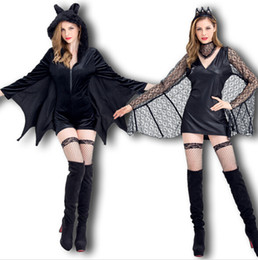 Wholesale Halloween Bat Costume - Women New Cosplay Dress Black Bat Vampires Devils Cosplay Costume Animal Superman Theme Halloween Clothing
