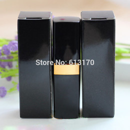 Wholesale Empty Lipstick Packaging Wholesale - 100pcs lot 5G 5ml Lip Balm Tube Packaging Carton Box Black Empty Lipstick Tube Container DIY Packing box Free shipping