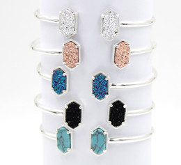 Wholesale Druzy Charms Wholesale - Fashion SILVER Color Kendra Bangle Oval Resin Druzy Bracelets Bangles for Women Jewelry Display