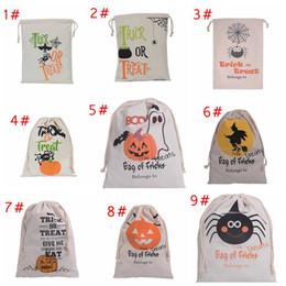 Yeni 11 tasarımlar Cadılar Bayramı Büyük Tuval çanta pamuk İpli Çanta Ile Kabak, şeytan, örümcek, Yortusu Hediyeler Çuval Çanta nereden elmas ışıltılı tırnak gazı tedarikçiler