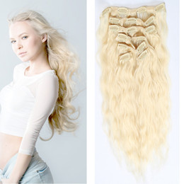 Wholesale Blonde Hair Clip Piece - Clip In Hair Extensions 10pcs set 22clips 16-24inch #613 Blode 100% Unprocessed Human Hair Extensions Dyeable Hair Pieces Cheap Price