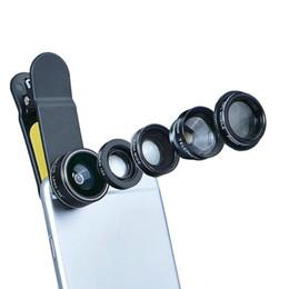 Wholesale Macro Lighting - APEXEL selfie light Universal Clip 5 in 1 Camera Lens Kit for iPhone Smart phones Lenses Fisheye Macro WideAngle TelescopeLens Free DHL