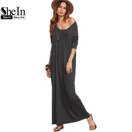 Wholesale Casual Grey Dress Shirt - Wholesale- SheIn Ladies Casual Long Dress Womens Clothing Autumn Long Sleeve Maxi Dress Heather Grey Scoop Neck T-shirt Dress