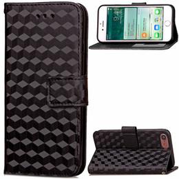 Lujo 3D Rhombus patrón teléfono celular PU billetera de cuero con ranuras para tarjetas de identificación titular de soporte imán botón paquete para iphone 7 7 plus desde fabricantes