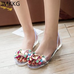 Wholesale Transparent Shoes Men - IMKKG 2017 New Women Sandals Fashion Transparent Shoes Summer Casual Jelly Shoes Flat Ladies Sandals S186