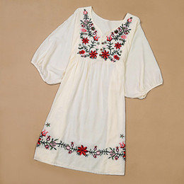 Wholesale Vintage Ethnic Dress - 2017 New Summer Vintage Female Ethnic Mexican Floral Loose Shirt Tops Hippie Boho Cotton Long Woman Embroidery Blouse Dress