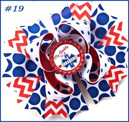 Wholesale Inspire Hair - free shipping 50pcs 5'' 2017 newest character hair bows school bows Patriotic Bow inspired hair clips fashion girl hair accessories
