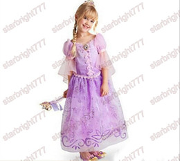 Wholesale Costume Performing Stage - 2017 Children Kids Cosplay Dresses Rapunzel Costume Princess Wear Perform Clothes Purple Princess Dress For Kids Free Shipping
