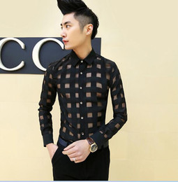 Wholesale Mens Chiffon - Wholesale-New Fashion Lace Chiffon casual men shirt sexy mens see through shirts designer clothes,plus size dresses xxxl,white black