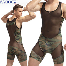 Wholesale Tight Mens Suit - Mens Sexy Bodysuit Fashion 2017 Sexy Man Jumpsuit Wresting Undershirts Shapper Camouflage Nylon Ultra Thin Tight Splicing Body