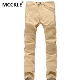 Wholesale Designer Mens Slim Fit Pants - Wholesale-Khaki Mens Biker Jeans Fashion Brand Designer Pleated Moto Jeans Pants Male Light Ripped Slim Fit Straight Denim Joggers Q2300