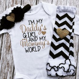 81c618966ec 2017 INS Baby girl toddler Summer 2piece set Gold Letter romper onesies  Jumpsuits + Wave legging I m My Daddy s Girl And My Mommy s World