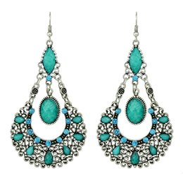 Wholesale Drop Out - New Indian Jewelry Hollow out Silver Color Vintage Style Colorful Created Gemstone Drop Earrings for Women
